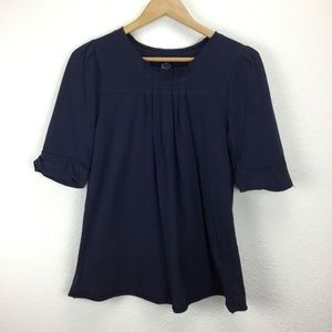 Marc by Marc Jacobs Navy Pleated Top Size M